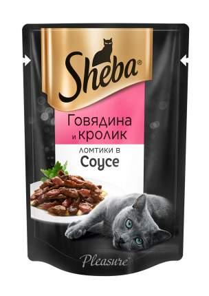 Влажный корм для кошек Sheba Pleasure Ломтики из говядины и кролика в соусе, 24 шт по 85г