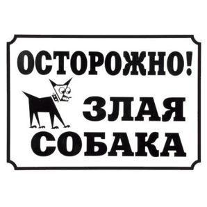 """Табличка Дарэлл """"Осторожно, злая собака"""", 24x17см"""