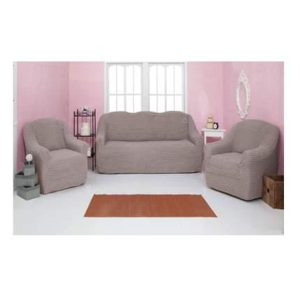 Комплект чехлов на диван и кресла без оборки CONCORDIA, тускло-сиреневый, 3 предмета
