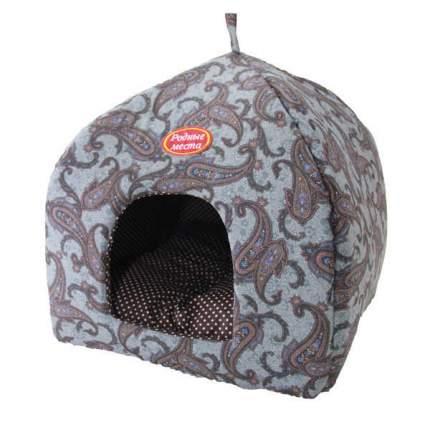 Домик для кошек и собак Родные места Избушка №1 Огурцы серые, 42x42x50см