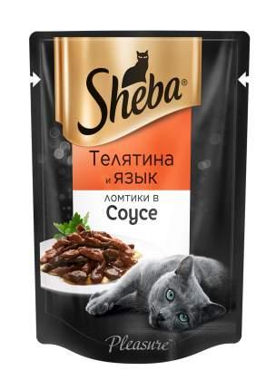 Влажный корм для кошек Sheba Pleasure ломтики из телятины и языка в соусе, 24 шт по 85г