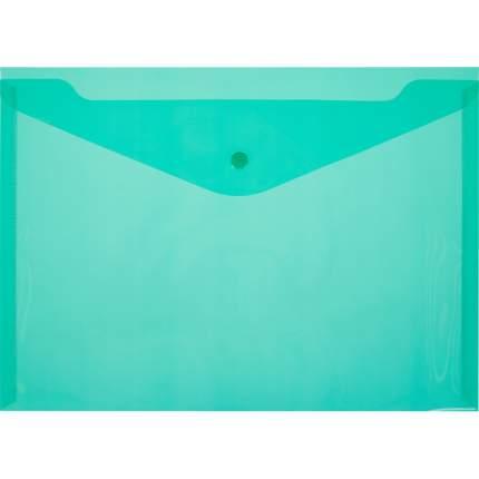 Папка-конверт с кнопкой А4, прозрачная, зеленая