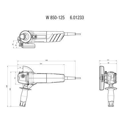 Сетевая угловая шлифовальная машина Metabo W 850-125 601233010