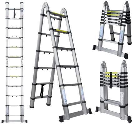 Лестница телескопическая алюминиевая UPU Ladder UPT706 3,8 м