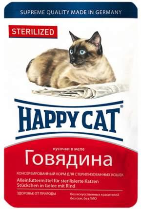 Влажный корм для кошек Happy Cat Sterilized, для стерилизованных, говядина, 22шт по 100г
