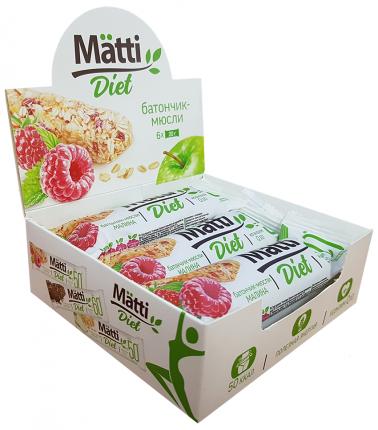 Mätti Diet Батончик-мюсли с малиной ш/б mini 6*20 г