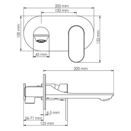 Смеситель для раковины WasserKRAFT Elbe 7430 встраиваемый