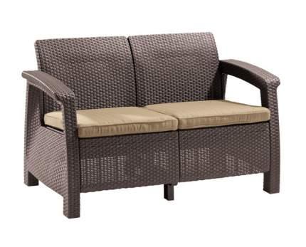 Садовый диван Keter Corfu Love Seat Max 17197359 Коричневый ротанг
