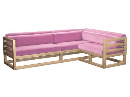 Угловой диван Магнус Угловой сосна натуральный Розовый, вельвет, Правый