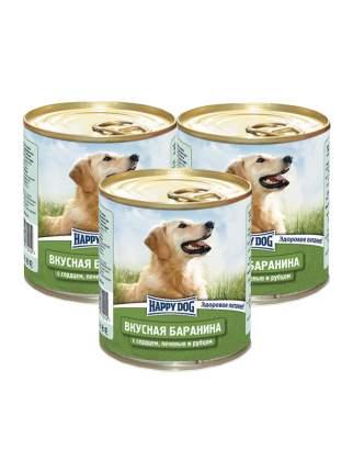 Влажный корм для собак Happy Dog баранина, сердце, печень, рубец, 3шт, 750г