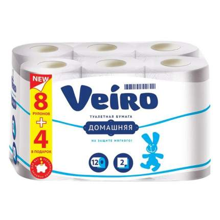 Туалетная бумага Veiro Домашняя 2 слоя 12 рулонов белая
