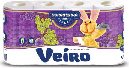 Полотенца бумажные Veiro Classic с тиснением 4 рулона 2 слоя