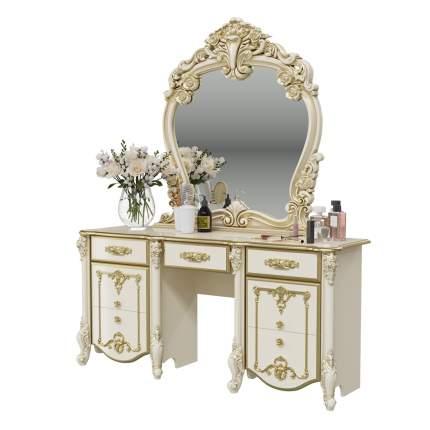 Стол туалетный с зеркалом Мэри-Мебель Дольче Вита слоновая кость с золотом, 159х46х191 см.