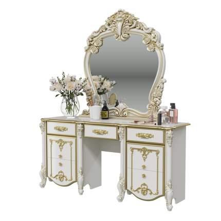 Стол туалетный с зеркалом Мэри-Мебель Дольче Вита белый глянец с золотом, 159х46х191 см.