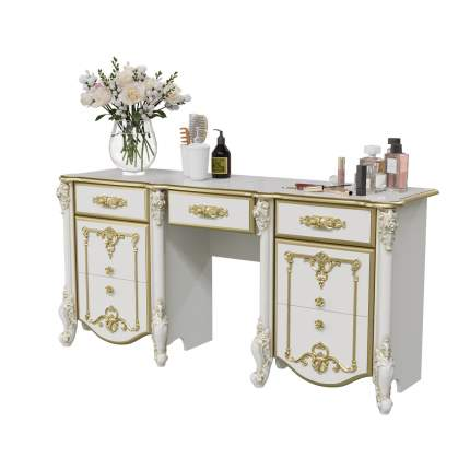Стол туалетный Мэри-Мебель Дольче Вита СДВ-05 белый глянец с золотом, 159х46х76 см.
