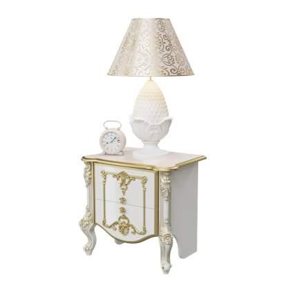 Тумба прикроватная Мэри-Мебель Дольче Вита СДВ-04 белый глянец с золотом, 63х45х59 см.