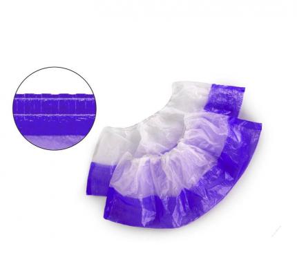 Бахилы одноразовые п/э двухслойные текстурированные цвет белый фиолетовый 50 пар