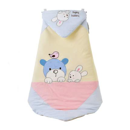 Одеяло-конверт Baby Fox Мишка и зайчик, зимнее, голубое, 90х90 см