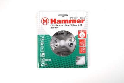 Пильный диск твердосплавный HAMMER Ф160х20мм 36зуб,