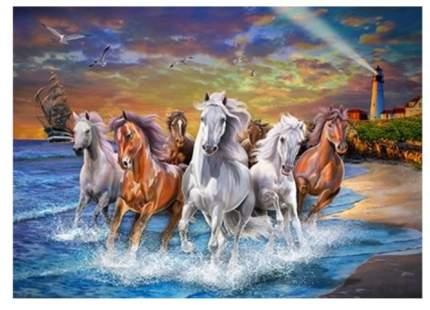 """Алмазная мозаика """"Табун лошадей на море"""", 30х40 см (с полным заполнением, с подрамником)"""
