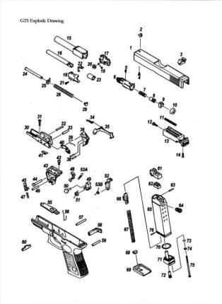 Пружина рычага затворной задержки KJW Glock 32 OD GGBB (GP609-39)