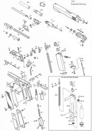 Винт фиксации головы поршня KJW Colt M1911A1 CO2 GBB (CP109-10)