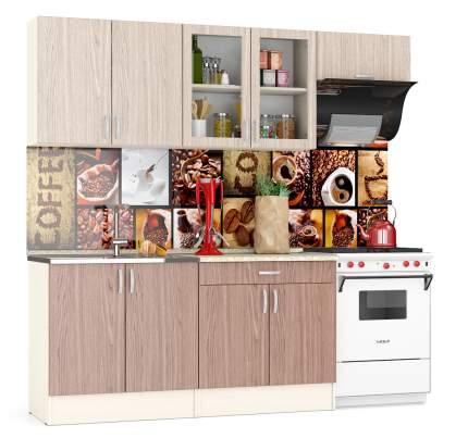 Кухня Мебельный Двор Клер 2,2 220 см, дуб/ясень шимо светлый/тёмный