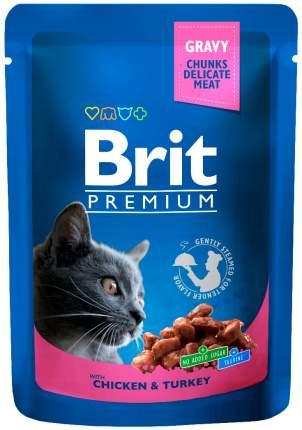Влажный корм для кошек Brit Premium Chicken & Turkey, c курицей и индейкой, 24шт по 100г