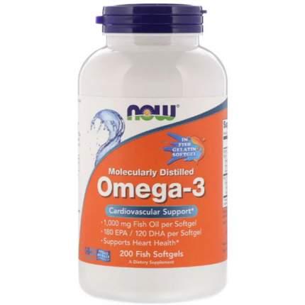 NOW Omega-3 1000 мг (200 Fish Softgels) - Омега 3 в гель-капсулах из рыбьего желатина