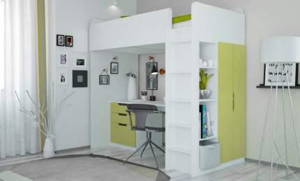 Кровать-чердак Polini kids Simple с письменным столом и шкафом, белый-зеленый