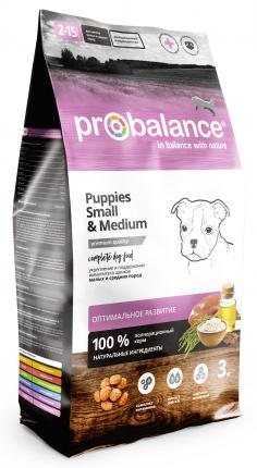 Сухой корм для щенков ProBalance Immuno Puppies Small & Medium, курица, 3кг