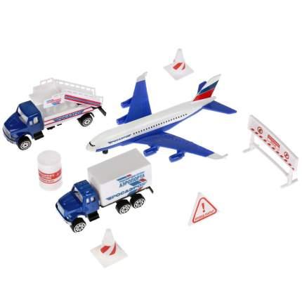 Технопарк Набор металлических машинок Аэропорт: самолет 14 см., машинки, знаки, аксессуары