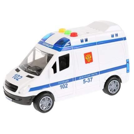 Технопарк Машина – микроавтобус Полиция, длина 15,5 см., пластик, инерционная, свет и звук
