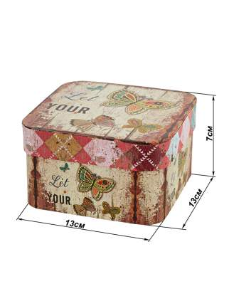 Подарочная коробка Бабочка малая картон 13х13х7см