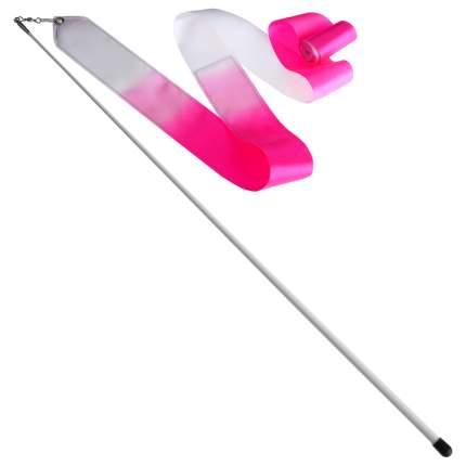 Гимнастическая лента Sima-land 4477793 с палочкой 56 см, 4 м, белая/розовая