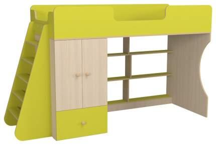 Кровать-чердак Капризун Р445 со шкафом лайм