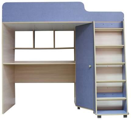 Кровать чердак Капризун с рабочей зоной голубой