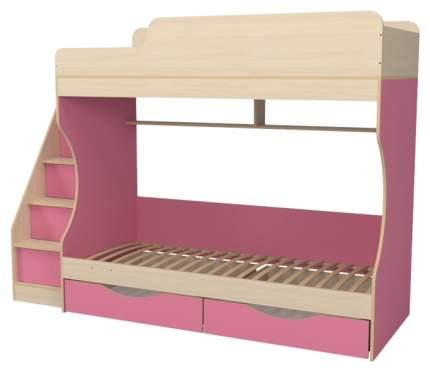 Кровать двухъярусная Капризун Р443 с ящиками розовая