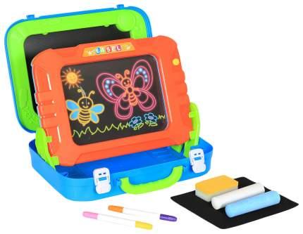 Доска для рисования Наша Игрушка меловая + со светом в чемоданчике маркер мел