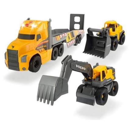 Набор машинок Dickie Toys Грузовик Mack, экскаватор и погрузчик Volvo, 70 см