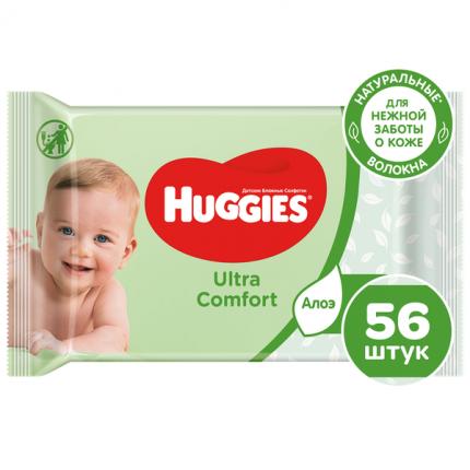 Влажные салфетки Huggies Ultra Comfort Aloe, 56 шт. 2398596