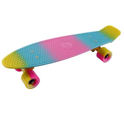 "Скейтборд круизер-пенниборд Tech Team Multicolor 22"" с сумкой (розово-желтый)"