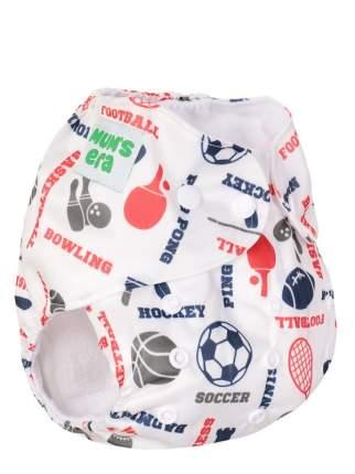 Подгузник детский многоразовый Mum's Era Спорт белый со вкладышем