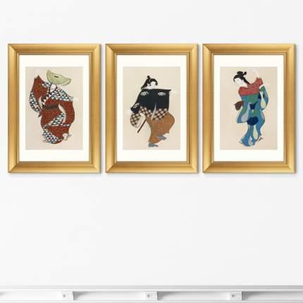 Репродукция Набор из 3-х картин Dancers from Momoyogusa-Flowers, 1909г.