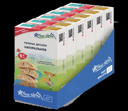 Печенье детское Fleur Alpine Натуральное, с 9 месяцев, 6x150 г