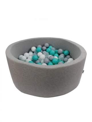 Сухой игровой бассейн Волна серый высота 33 см, с 200 шарами в комплекте