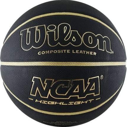 Мяч баскетбольный Wilson NCAA Highlight Gold, 7, черный, тренировочный, клееный