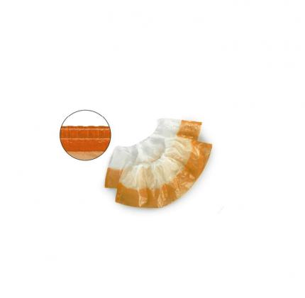 Бахилы одноразовые полиэтиленовые двухслойные текстурированные цвет белый оранжевый 50 пар