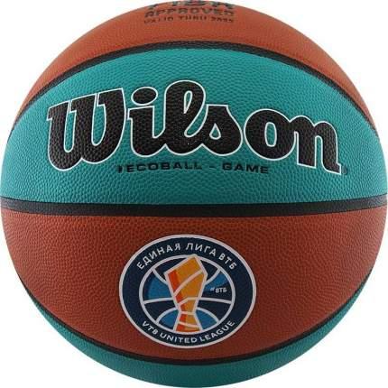 Мяч баскетбольный Wilson VTB Sibur Gameball ECO, 7, коричневый, профессиональный, клееный
