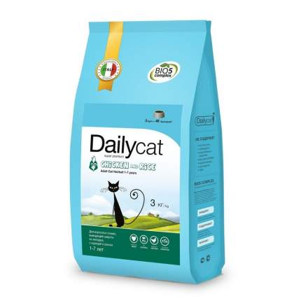 Сухой корм для кошек Dailycat Adult Hairball , курица, 3кг